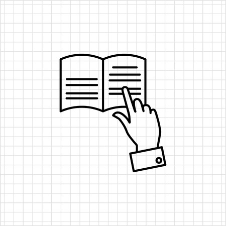 tracing: Icon of mans hand tracing text with finger while reading
