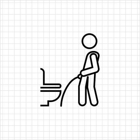 urinating: Icon of mans silhouette urinating in public restroom