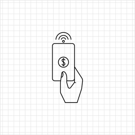 proximity: Icon of human hand holding proximity card with dollar sign