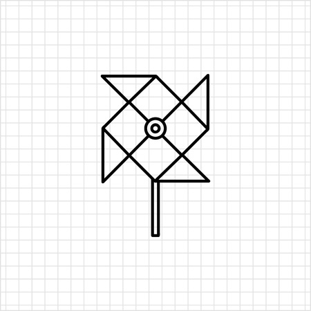weathercock: Icon of toy paper windmill Illustration