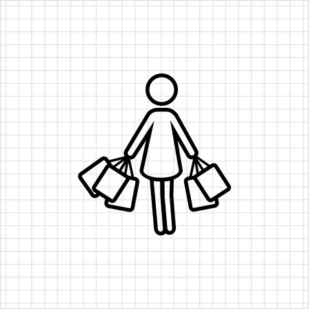 carrying: Icon of womans silhouette carrying shopping bags Illustration