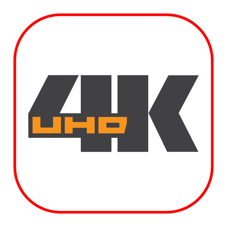 inch: icon of 4K UHD badge, isolated on white