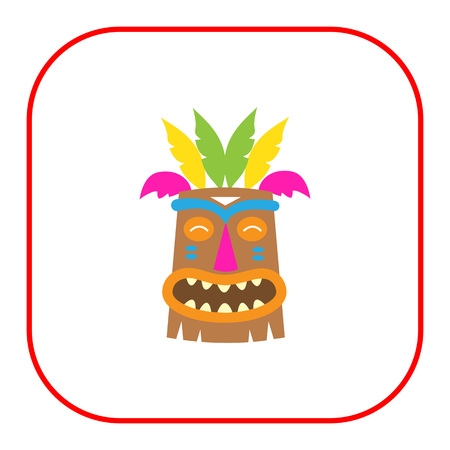 wooden mask: Vector icon of African wooden tribal mask Illustration