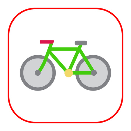 handlebar: Vector icon of bicycle, isolated on white