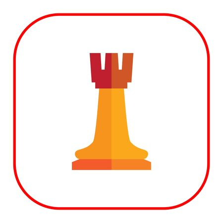 tactic: Multicolored vector icon of orange chess rook Illustration