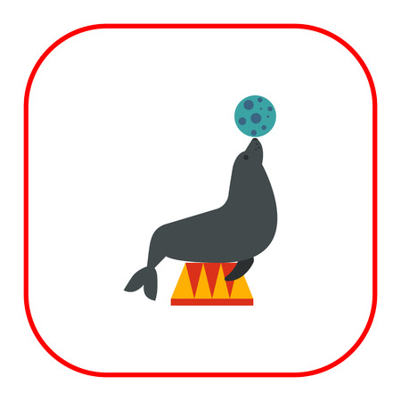 holding nose: Icon of circus seal holding ball on its nose Illustration