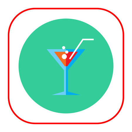fizzy: Icon of cocktail glass with straw and fizzy drink