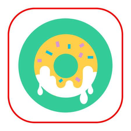 nourishing: Icon of doughnut with sugar icing