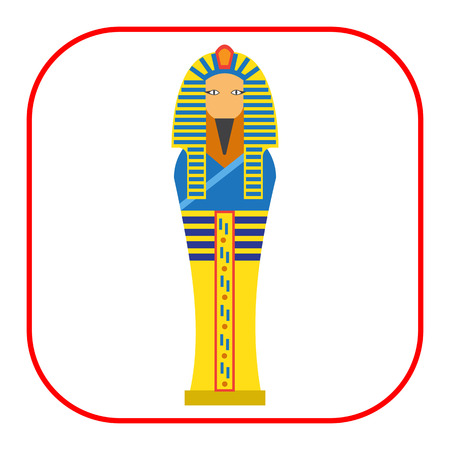 ancient civilization: Vector icon of golden Egyptian pharaoh sarcophagus