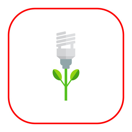 flower lamp: Icon of stylized green fluorescent lamp flower Illustration