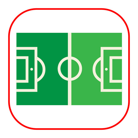 marking: Vector icon of green football field with marking Illustration
