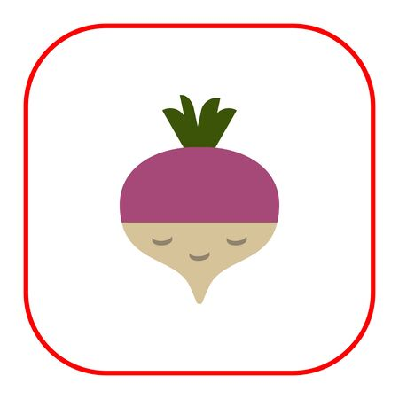 Vector icon of fresh radish with green sprouts