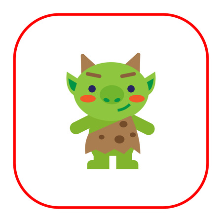 horns: Vector icon of funny green troll with horns