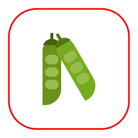 green peas: Vector icon of green peas in pea pods