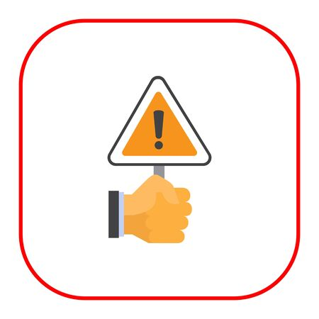 triangular warning sign: Vector icon of human hand holding triangular warning sign
