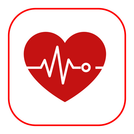 of electrocardiogram: Icon of heart and electrocardiogram