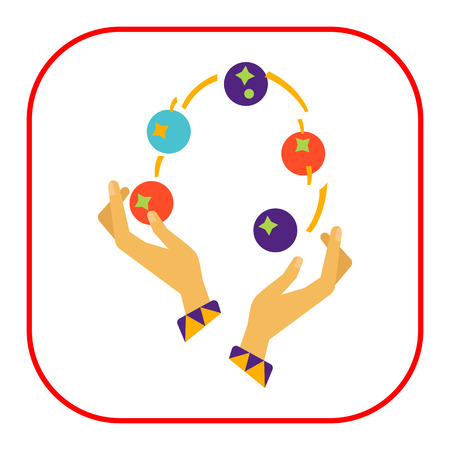 costume ball: Icon of human hands juggling with balls Illustration