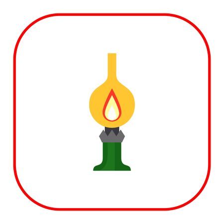 kerosene lamp: Icon of kerosene lamp with flame inside
