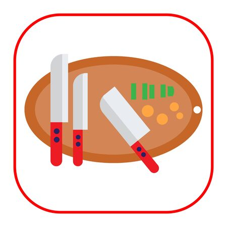 cutting board: Vector icon of knives on oval cutting board with some chopped vegetables on it