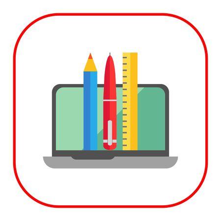 ball pens stationery: Icono de la computadora portátil abierta, lápiz, pluma y regla Vectores