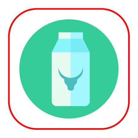envase de leche: Icono de cartón de leche con la imagen de cabeza de vaca Vectores