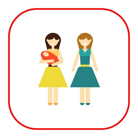 nontraditional: Icon of gay family consisting of two women and one baby Illustration