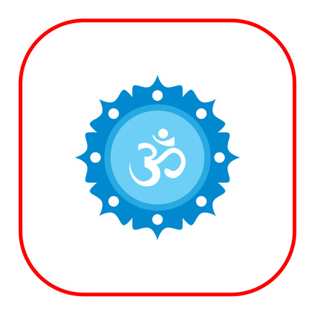 sanskrit: Icon of om sign on background with floral elements Illustration