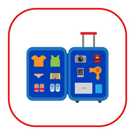 drier: Vector icon of open travel suitcase with various items inside