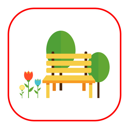 park bench: Icon of park bench, trees and flowerbed