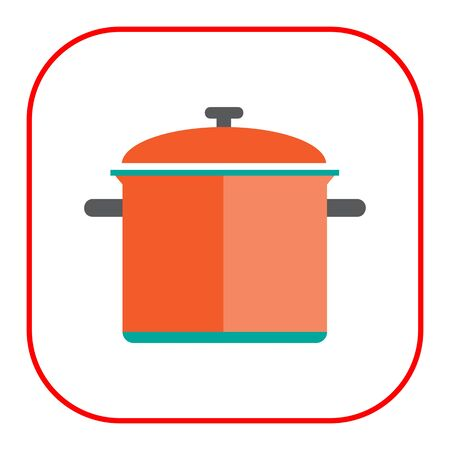 lid: Icon of red saucepan with lid Illustration