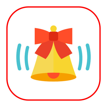 jingling: Icon of ringing bell with red bow