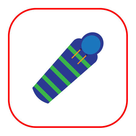 sleeping bags: icon of striped green and blue sleeping bag Illustration