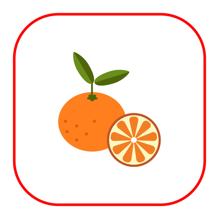 tangerine: icon of tangerine and cut tangerine half