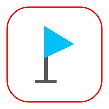 triangle flag: Icon of blue triangle flag on pole Illustration