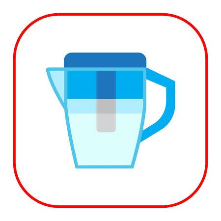 water filter: icon of blue water filter jug