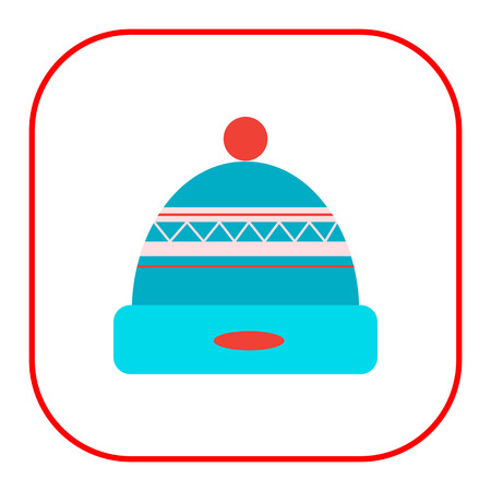 pompon: icon of knitted winter hat with pompon