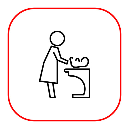 changing room: Icon of mother changing diaper with baby lying on changing table Illustration