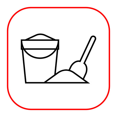 sandpit: Icon of bucket with sand and spade