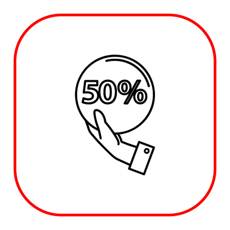 purchasing manager: Icon of man hand holding sign of 50 percent discount
