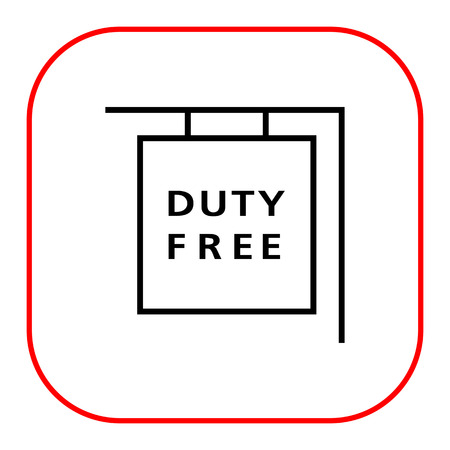 duty: Icon of hanging duty free shop sign Illustration