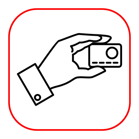 holding credit card: Icon of man hand holding credit card