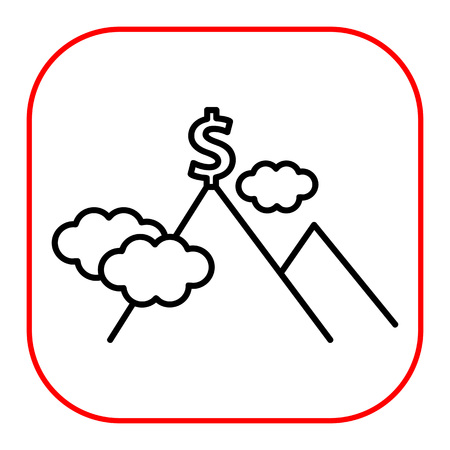 mountain top: Icon of dollar sign on mountain top Illustration
