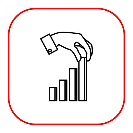 uptrend: Icon of man hand putting last element of bar chart