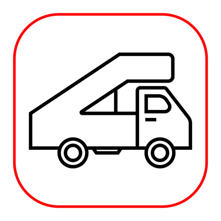 landing: Icon of truck with landing ramp