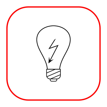high voltage sign: Line icon of lightbulb with high voltage sign inside