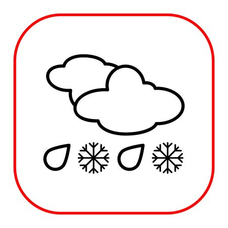 downfall: Icon of clouds with falling snowflakes and raindrops