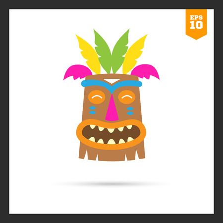paganism: Vector icon of African wooden tribal mask Illustration