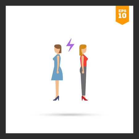 medium length hair: Icon of two woman turning back to each other with lightning sign between them Illustration