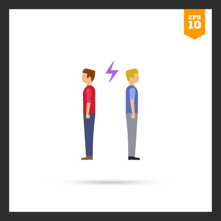 turning: Icon of two man turning back to each other with lightning sign between them Illustration