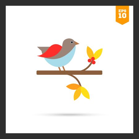 tweeting: Vector icon of bird sitting on branch Illustration